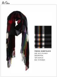 Ultra Soft Checkered Scarf Cashmere Feel Black
