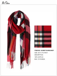 Ultra Soft Checkered Scarf Cashmere Feel Burgundy