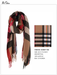 Ultra Soft Checkered Scarf Cashmere Feel Tan