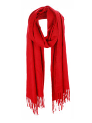 Ultra Soft Solid Color Scarf Cashmere Feel Wrap Red