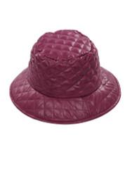 Quilted Nylon Bucket Hat Rain for Women Burgundy