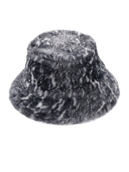 Soft Faux Fur Bucket Hat Furry for Women Grey