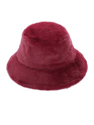 Soft Faux Fur Bucket Hat Furry for Women Burgundy