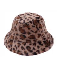 Soft Faux Fur Bucket Hat Furry for Women Leopard
