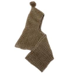 Knitted Infinity Scarf Pom Pom with Hood Khaki