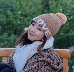 Love Knitted Beanie Hat Faux Fur Lined Beige