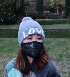 Love Knitted Beanie Hat Faux Fur Lined Grey