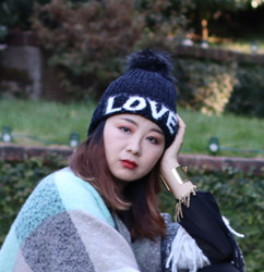 Love Knitted Beanie Hat Faux Fur Lined Black