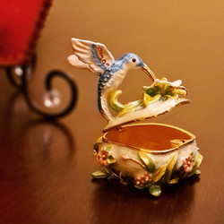 Blue Hummingbird atop Flowers Trinket Box