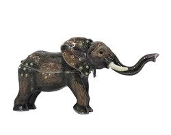 African Elephant Multicolor Crystals Trinket box