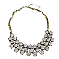 Vintage Style Statement Necklace 3-Row Clear Stone