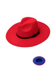 Luxury Unisex Wide Brim Vintage Aussie Felt Fedora Hat 2-Tone Red