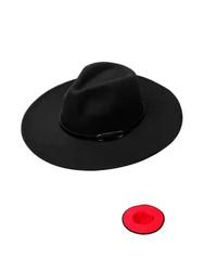 Luxury Unisex Wide Brim Vintage Aussie Felt Fedora Hat 2-Tone Black