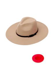 Luxury Unisex Wide Brim Vintage Aussie Felt Fedora Hat 2-Tone Beige