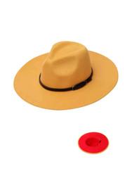 Luxury Unisex Wide Brim Vintage Aussie Felt Fedora Hat 2-Tone Mustard
