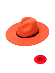 Luxury Unisex Wide Brim Vintage Aussie Felt Fedora Hat 2-Tone Orange