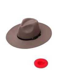 Luxury Unisex Wide Brim Vintage Aussie Felt Fedora Hat 2-Tone Khaki