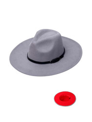 Luxury Unisex Wide Brim Vintage Aussie Felt Fedora Hat 2-Tone Grey