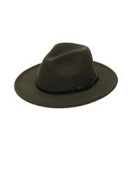 Teardrop Crown Vintage Aussie Felt Fedora Hat Olive Green