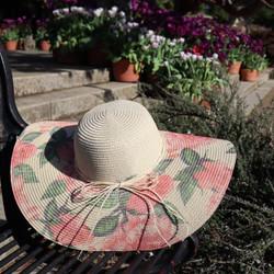 floral floppy straw hat wide brim