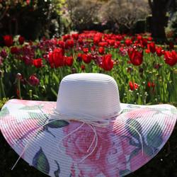 Wide Brim Floral Print Straw Hat White