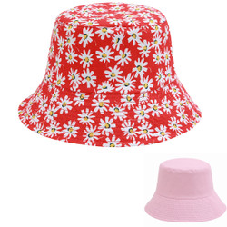 Daisy Print Bucket Hat Red Reversible Pink