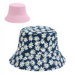 Daisy Print Bucket Hat Navy Reversible Pink