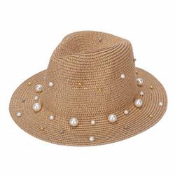 Pearl & Beads Fedora Hat Khaki