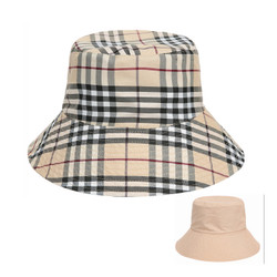 Haymarket Print Bucket Hat Reversible Beige
