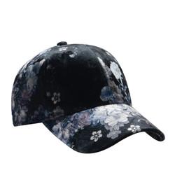 Blossom Printed Velour Baseball Cap Hat