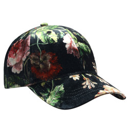 Rose Printed Velour Baseball Cap Hat Green Pink