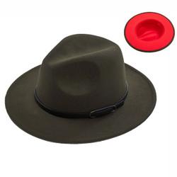 Teardrop Crown Vintage Aussie Felt Fedora Hat Olive
