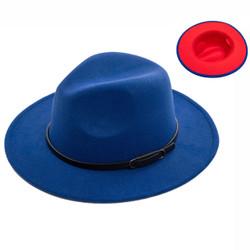Teardrop Crown Vintage Aussie Felt Fedora Hat Royal Blue