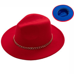 Teardrop Crown Vintage Felt Fedora Hat with Gold Chain Red