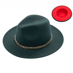 Teardrop Crown Vintage Felt Fedora Hat with Gold Chain Forest Green