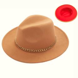Teardrop Crown Vintage Felt Fedora Hat with Gold Chain Khaki