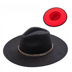 Wide Brim Aussie Felt Panama Hat with Gold Chain Black