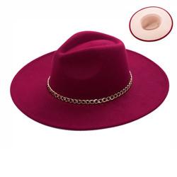 Wide Brim Aussie Felt Panama Hat with Gold Chain Burgundy