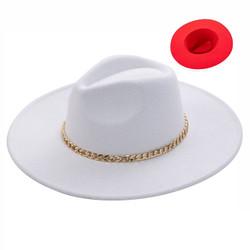 Wide Brim Aussie Felt Panama Hat with Gold Chain White