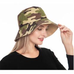 Camouflage Print Bucket Hat Reversible Beige