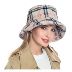 Luxurious Soft Faux Fur Bucket Hat Haymarket Print
