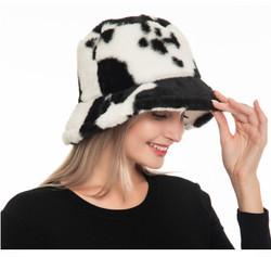 Luxurious Soft Faux Fur Bucket Hat Animal Cow Print