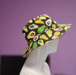 Avocado Print Bucket Hat Reversible Beige