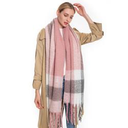 Ultra Soft Blanket Scarf Pink Plaid