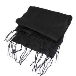 Snugly Warm Fringed Scarf Black