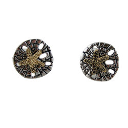 Sand Dollar Stud Earrings Vintage Style Dual Tone