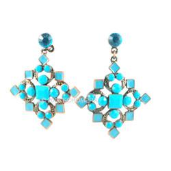 Victorian-Style Turquoise-blue Cross Earrings