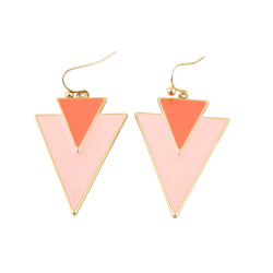 Geometric Panel Earrings Two Tone Pink