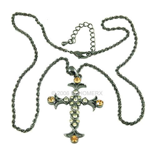 Victorian Amber Green Cross Pendant