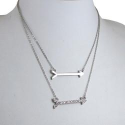 Double Arrow Necklace Silver
